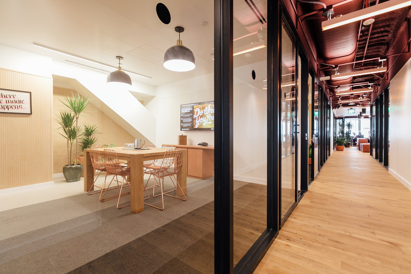 Gas company tower coworking private offices wework - Interior design companies los angeles ...